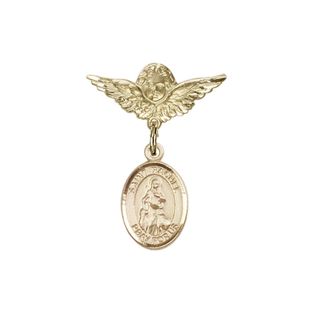 Baby Badge, 14kt Gold badge with St. Rachel Charm