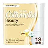 Kleenex Cottonelle Beauty, Papel Higiénico, color Blanco, 18 Rollos x 180 Hojas Triples