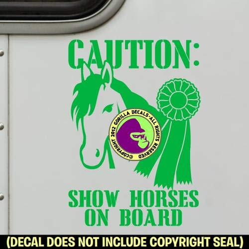 1st PLACE RIBBON SHOW HORSES ON BOARD Caution Trailer Vinyl Decal Sticker E