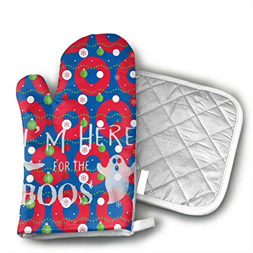 KUGUANG I'm Here for The Boos Halloween Oven Mitts, Non-Slip Silicone Oven Mitts, Extra Long Kitchen Mitts, Heat Resistant to 500Fahrenheit Degrees Kitchen Oven Gloves]()