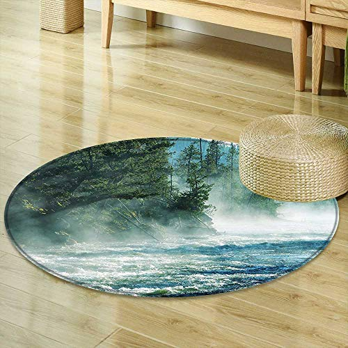 Mikihome Non Slip Round Rugs Yellowstone Decor Fog on Yellowstone River Alpine Trees by The Bank Wilderness Waterscape Picture Green Blue Decor Oriental Floor and Carpets R-47