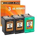 Gorilla Ink Set Cartridges Compatible with HP 337 XL & HP 343 XL DeskJet 5940 5950 6940 6980 6985 6988 D4100 D4145 D4155 D4160 Officejet 100 150 Mobile H470 Pro K7100 (02) 2x Black 1x Color