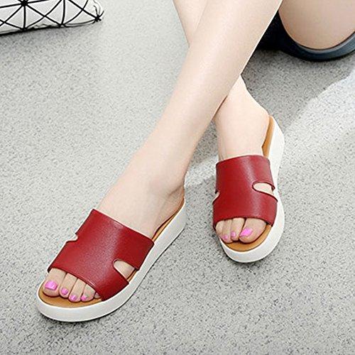 Btrada Femmes Casual Sandales Anti-dérapant Été Chaussures De Plein Air En Plein Air Plage Pantoufles Rouge