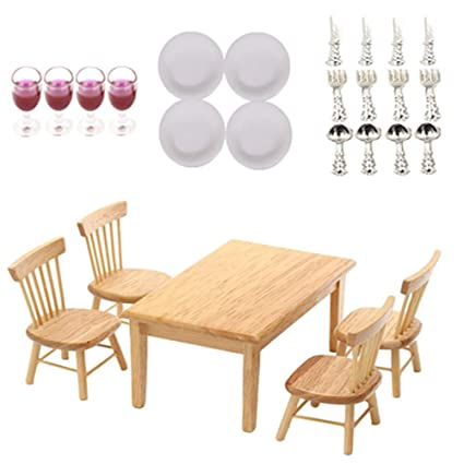 33af2cf100d9 AOWA Set of Wooden Dinner Table Chairs Dollhouse Miniatures Kitchen  Furniture with Cutlery Set, Plates