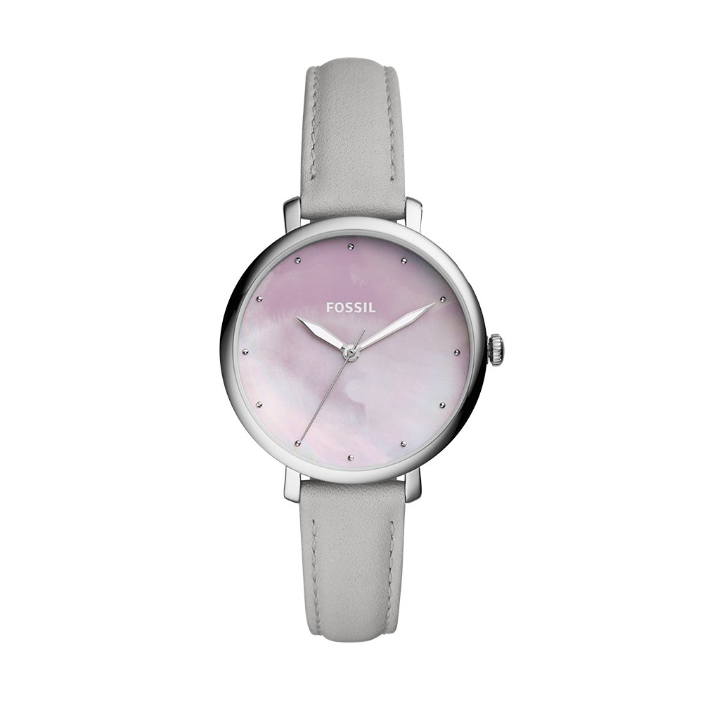 Fossil Women's 'Jacqueline' Quartz Stainless Steel and Leather Casual Watch, Color:Grey (Model: ES4386)