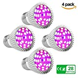[Pack of 4] Led Grow Light Bulbs, Derlights 28W E26 Full Spectrum Grow Lamp Plant Lights for Indoor Plants Hydroponic Garden Greenhouse Flower Vegetables