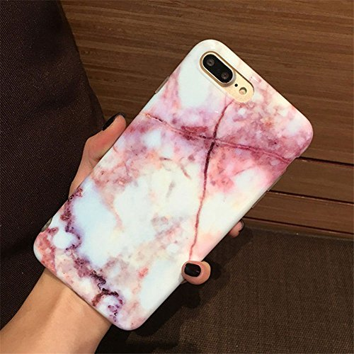 iPhone 8 Plus Case, iPhone 7 Plus Case, Jwest Marble Printed Clear Bumper Slim TPU Soft Rubber Silicone Cover Anti-Scratch Thin Back Protective Phone Case Cover for Apple iPhone 7 Plus / 8 Plus Red