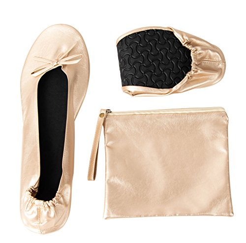 Foldable Ballet Flats - Women's Portable Ballerina Roll up Shoes with Pouch, Nude, L