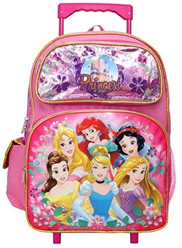 Disney Princess Cinderella Belle Rapunzel Ariel 16 inches Large Rolling Backpack Disney Princess Large Backpack