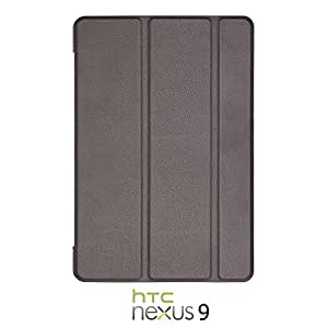 OnlineBestDigital - Ultra-Slim Folio Cover Case with Auto Sleep / Wake Function for Google Nexus 9 - Black with 3 Screen Protectors