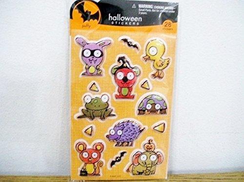Stickety Doo Da Halloween Puffy Stickers - 28 Stickers Animals Frog Turtle Elephant Bats Chick