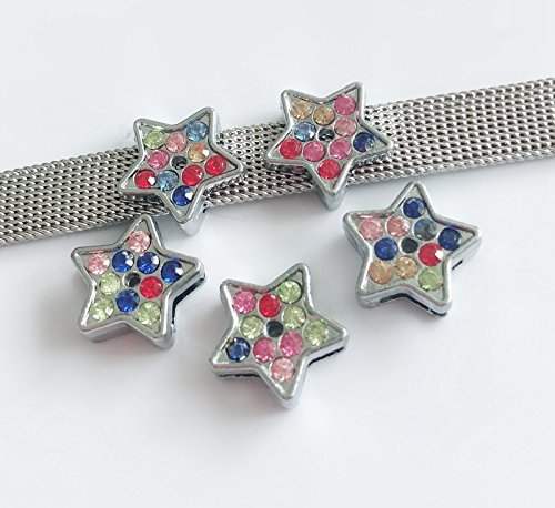 50PCS 8MM Mixed Color Rhinestone Five-Pointed Star Slide Charms Beads DIY Accessories Fit 8mm Wristbands, (Star Slide Charm)
