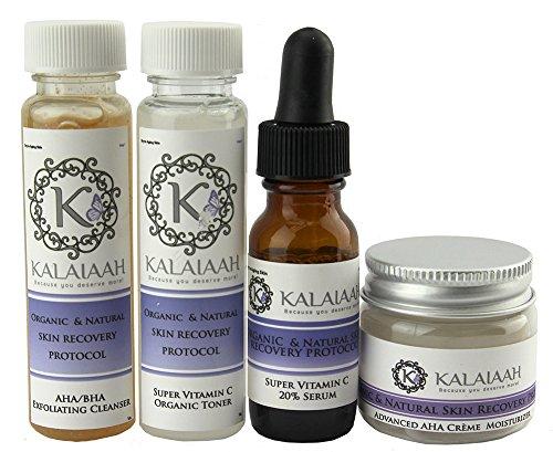 AHA-BHA Skin Renewal Skin Care Kit: Aha Bha Exfoliating Glycolic Face Wash, Vitamin C Serum 20%, Organic Vitamin C Toner & AHA Moisturizer