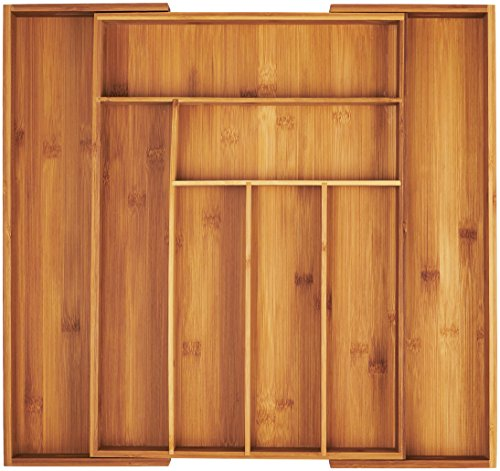 AmazonBasics Bamboo Expandable Kitchen Utensils Drawer Organizer (Kitchen Bamboo)