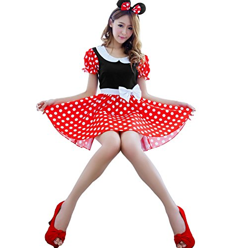 [Ecoolbuy Sexy Lingerie Disney Mickey Mouse Fancy Dress Up Cosplay Outfit with Ears] (Sexy Halloween Dress Up)