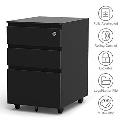 Superieur 3 Drawer Filling Cabinet, Metal Vertical File Cabinet With Hanging File  Frame For Legal