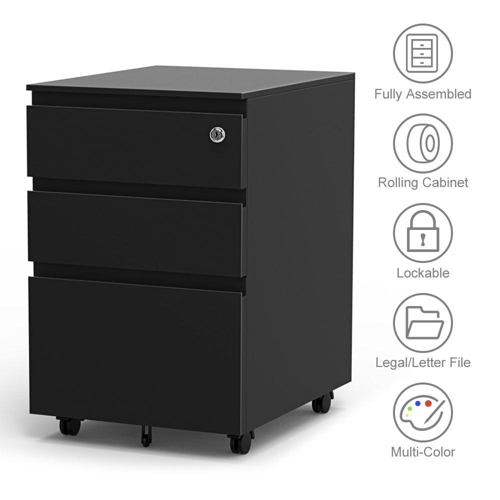 Yoleo 3-Drawer Filling Cabinet, Metal Vertical File Cabinet with Hanging File Frame for Legal & Letter File Install-Free Anti-tilt Design and Lockable System Office Rolling File Cabinet-Black