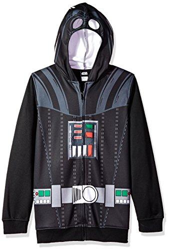Star Wars Big Boys' Darth Vader Fleece Zip Costume Hoodie, black, X-Small-8]()
