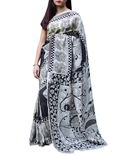 GiftPiperKalamkari Silk Saree -Black&OffWhite 1