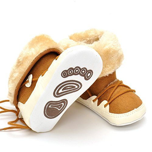 Image of Baby Boys Plush Snow Boots Hign-Top Winter Warm Sneakers Khaki Lace-up Prewalker Non-Slip 6-12 Months