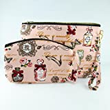 Handbag Coin Purse Vintage Style Peach Color Fabric Print 2 Size Zipper Closer Key Card Lady Cosmetic Makeup