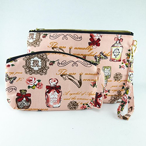 Dooney & Bourke Cosmetic Case (Handbag Coin Purse Vintage Style Peach Color Fabric Print 2 Size Zipper Closer Key Card Lady Cosmetic Makeup)