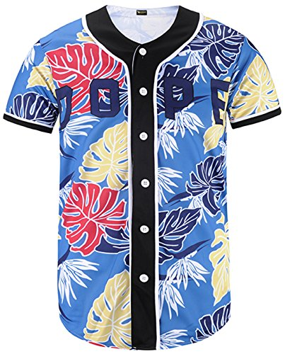 - PIZOFF Short Sleeve Arc Bottom Baseball Team Jersey 3D All Over Colorful Leaves Print Basketball Shirt Y1724-53-M