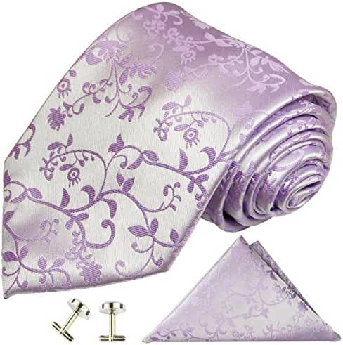 Paul Malone Wedding Necktie Set 100% Silk , Lavender Vines