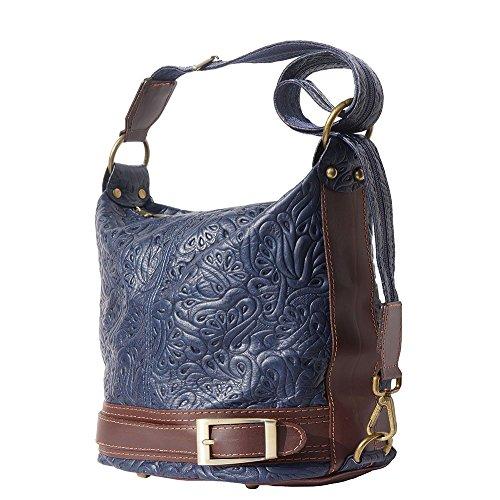 Trasformable Florence Leather Bolso Con marron Market Azul Marino En Bandolera Bucket 300s BA6nOAxr
