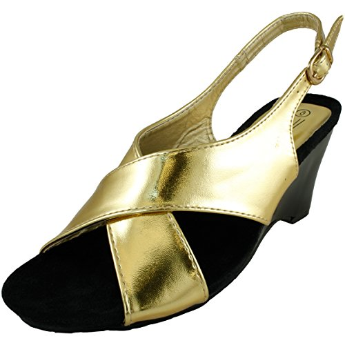 Agape Monica-46 Criss Cross Wedge Sandal Gold C92Az26