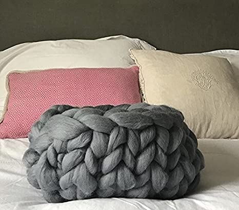 Super Comfy Ovillo de lana XXL gigante para punto y ganchillo, tejidos gruesos, lana 100 % Merino, 2 kg (gris topo): Amazon.es: Hogar
