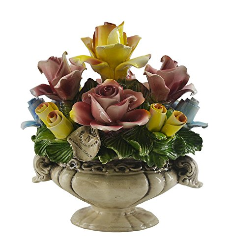 Authentic Italian Capodimonte Multicolor Rose Display Flower Bouquet Basket Counter Display