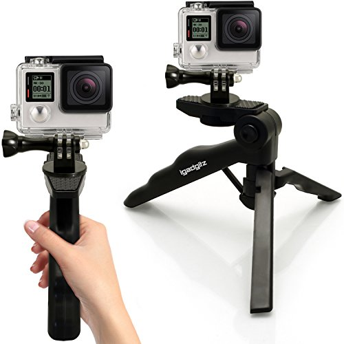 iGadgitz 2 in 1 Pistol Grip Stabilizer and Mini Lightweight Table Top Stand Tripod + Adaptor Mount for GoPro Fusion, Hero6 Black, Hero5 Black & Session, Hero4, Hero3+, Hero3, Hero2, Hero1 Hero Session