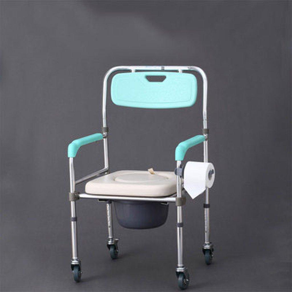 Shariv-シャワーチェア 浴室の椅子多機能折りたたみ式のベルトシートアルミニウム合金のトイレは、モバイルリハビリの便座することができます (色 : With pulleys) B07DR42VYH  With pulleys