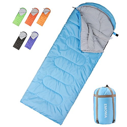 Emonia Camping Sleeping Bag,Three season.Waterproof Outdoor Hiking Backpacking Sleeping Bag Perfect for 20 Degree Traveling,Lightweight Portable Envelope Sleeping Bags for Adults,Girls and Boys by Emonia