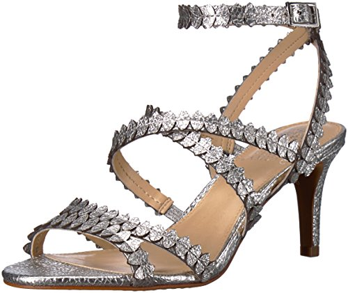 Vince Camuto Women's Yuria Heeled Sandal, Gleaming Silver, 6.5 Medium US by Vince Camuto