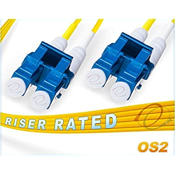 Image of 150M OS2 LC LC Fiber Patch Cable | Duplex 9/125 LC to LC Singlemode Jumper 150 Meter (492.12ft) | Length Options: 0.5M-300M | FiberCablesDirect | Alt: ofnr lc-lc single-mode dup lc/lc sm dx yellow Fiber Optic Cables