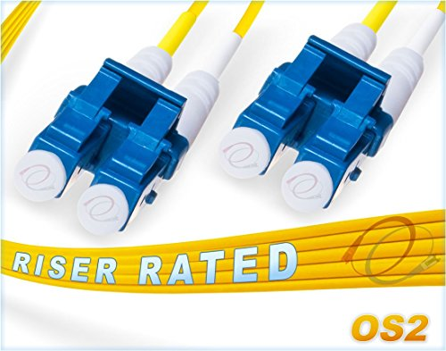 1M OS2 LC LC Fiber Patch Cable | Duplex 9/125 LC to LC Singlemode Jumper 1 Meter (3.28ft) | Length Options: 0.5M-300M | FiberCablesDirect | Alt: ofnr lc-lc single-mode dup lc/lc sm dx yellow