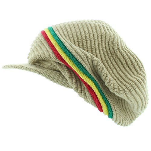 Beanie Visor Olive Khaki - Milani Rasta Ribbed and Slouchy Beanie Visor Cap Woven Hat w/Red Yellow Green Stripe (0014 Khaki)