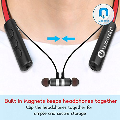 8ce6e3fe4f6 ... Woozik Flex Bluetooth Neckband Headphones, Around The Neck Wireless  Earbuds, Collar Magnetic Headset, ...