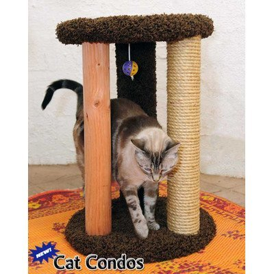 New Cat Condos Premier Round Multi Scratcher, Beige
