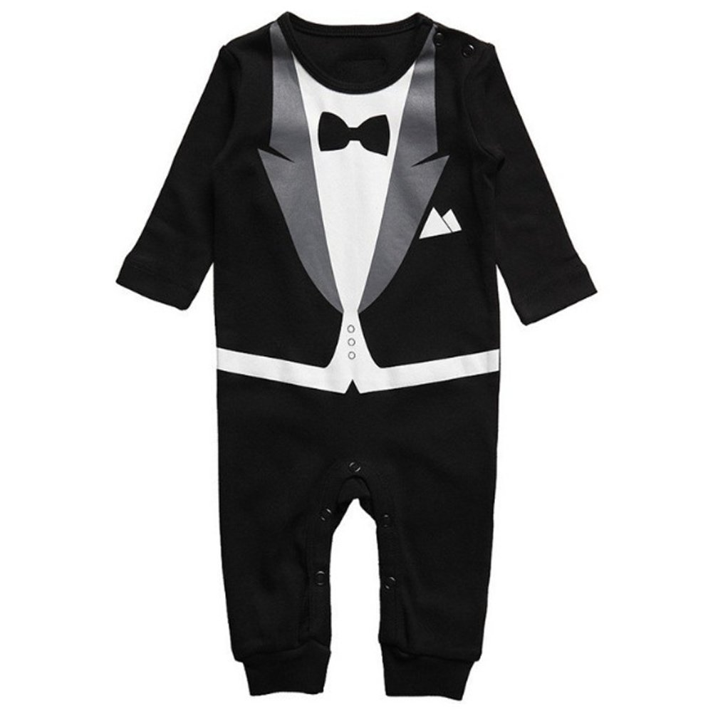 Aediea Toddler B/éb/és gar/çons Barboteuse Terry Body Bodies Combinaison Tuxedo Bapt/ême 0-24 mois Noir 80