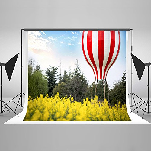 Rape Flowers (7x5ft Rape Flowers Hot Air Balloon Phtography Backdrop Cloud Blue Sky Photo Background for Pictures Kid Birthday Backdrop Wedding Backdrop)