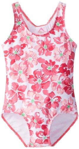 Kanu Surf Little Girls' Lei Racerback One Piece Swimsuit, Pink, 6