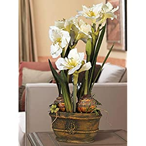 Universal Lighting and Decor White Amaryllis 25″ High Faux Flower Arrangement – Kensington Hill