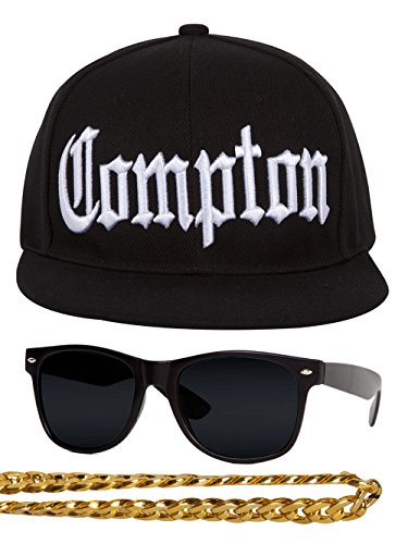Gravity Trading Compton 80s Rapper Costume Kit Flat Bill Hat w Sunglasses, Chain - Black]()