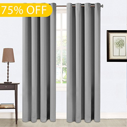 Balichun Darkening Thermal Insulated Blackout Grommet Window Curtain for Living Room W52 x L95, Space - Sale Blackout