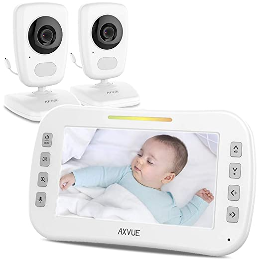 "AXVUE E632 Video Baby Monitor with Two Cameras and 5"" LCD, Night Vision, Temperature Detection, 2-Way Talk, VOX, Sound Lights, Power Saving On/Off, Expandable Cam"