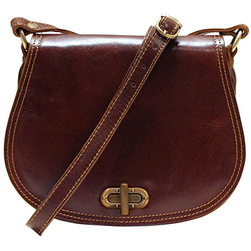 Floto Women's Saddle Bag in Brown Italian Calfskin Leather - Handbag Shoulder Bag