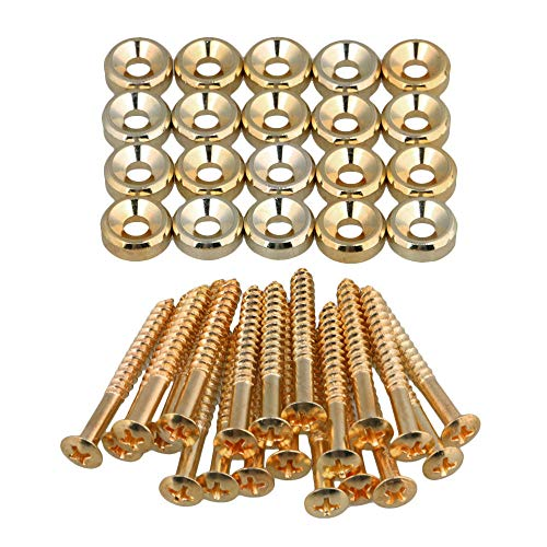 Guitar Neck Ferrules - Lovermusic Guitar Neck Joint Ferrules Bushing with Screws Gold Pack of 20